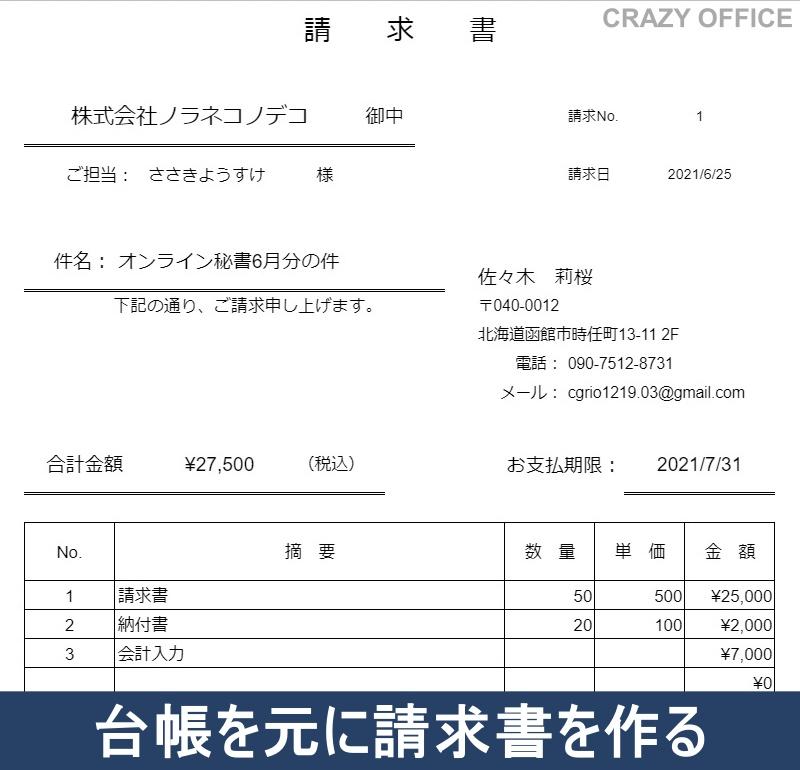 函館オンライン秘書請求書発行郵送作業流れイメージ料金データ6