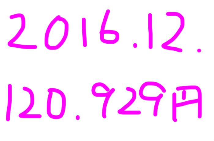 2016年12月のアフィリエイト報酬は「120,929円」。初10万超え~♡